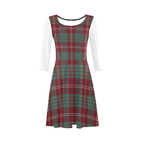 Image of Crawford Modern Tartan 3/4 Sleeve Sundress | Exclusive Over 500 Clans