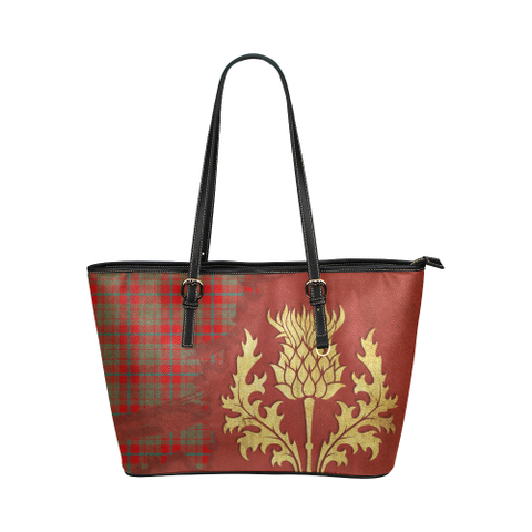 Image of Moubray Tartan - Thistle Royal Leather Tote Bag