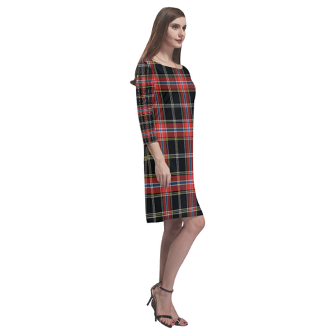 Norwegian Night Tartan Dress - Rhea Loose Round Neck Dress TH8