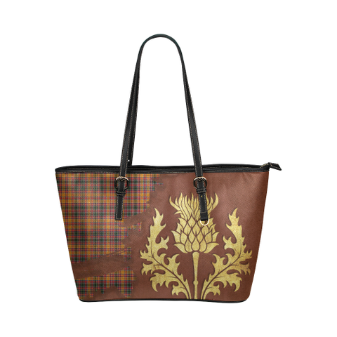 Jacobite Tartan - Thistle Royal Leather Tote Bag
