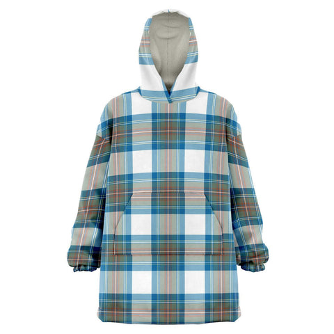 Image of Stewart Muted Blue Snug Hoodie - Unisex Tartan Plaid Front