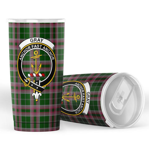 Image of Gray Tartan Tumbler, Scottish Gray Plaid Insulated Tumbler - BN