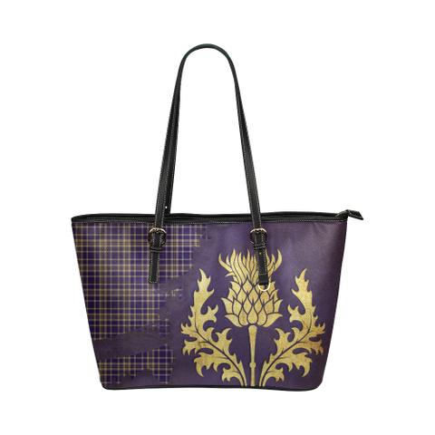 Ochterlony Tartan - Thistle Royal Leather Tote Bag