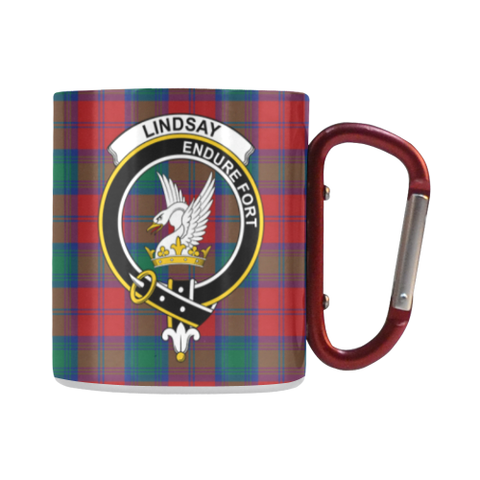 Image of Lindsay Modern Tartan Mug Classic Insulated - Clan Badge | scottishclans.co