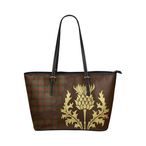 Ainslie Tartan - Thistle Royal Leather Tote Bag