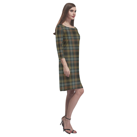 Tartan dresses - Stewart Hunting Weathered Tartan Dress - Round Neck Dress Clan Badge TH8