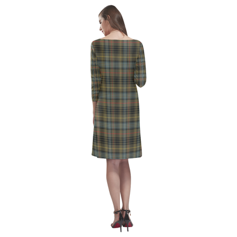 Tartan dresses - Stewart Hunting Weathered Tartan Dress - Round Neck Dress TH8