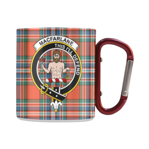 Macfarlane Ancient Tartan Mug Classic Insulated - Clan Badge | scottishclans.co