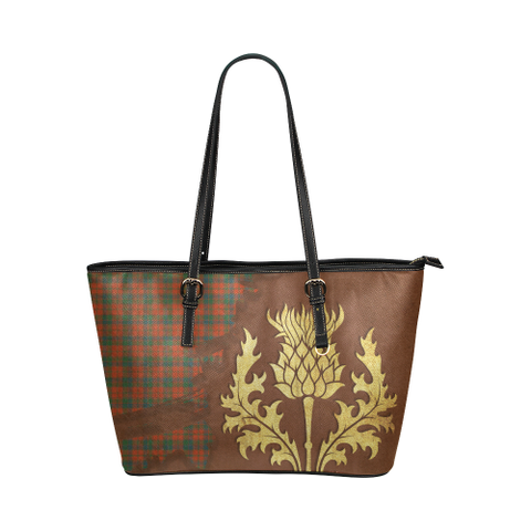 Robertson Ancient Tartan - Thistle Royal Leather Tote Bag