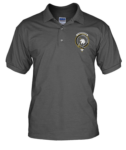Image of Cunningham Tartan Polo Shirt In Me Clan Badge K7
