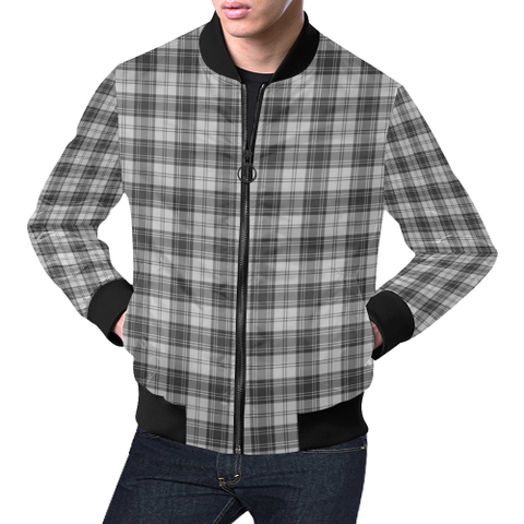 Douglas Grey Modern Tartan Bomber Jacket | Scottish Jacket | Scotland Clothing