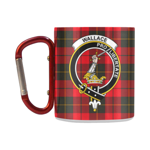 Image of Wallace Weathered Tartan Mug Classic Insulated - Clan Badge K7