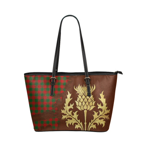Moncrieffe Tartan - Thistle Royal Leather Tote Bag