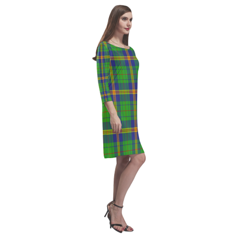 New Mexico Tartan Dress - Rhea Loose Round Neck Dress TH8
