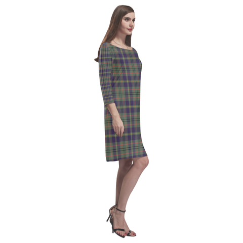 Image of Taylor Weathered Tartan Dress - Rhea Loose Round Neck Dress TH8