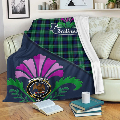Abercrombie Crest Tartan Blanket Scotland Thistle | Tartan Home Decor | Scottish Clan