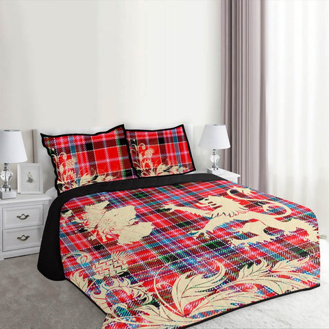Image of Aberdeen District Tartan Scotland Lion Thistle Map Quilt Bed Set Hj4