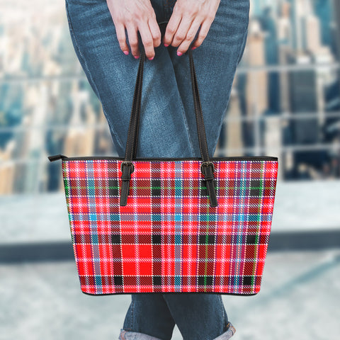 Aberdeen District Tartan Leather Tote Bag (Large) | Over 500 Tartans | Special Custom Design