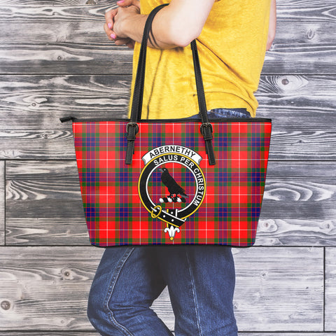 Abernethy Tartan Clan Badge Leather Tote Bag (Large) |  Over 300 Clans And 500 Tartans | Special Custom Design