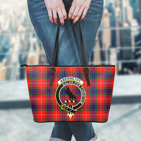 Abernethy Tartan Clan Badge Leather Tote Bag (Small) | Over 300 Clans And 500 Tartans | Special Custom Design