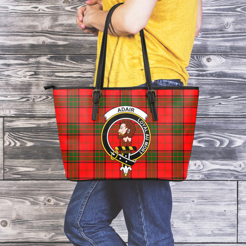 Adair Tartan Clan Badge Leather Tote Bag (Large) |  Over 300 Clans And 500 Tartans | Special Custom Design