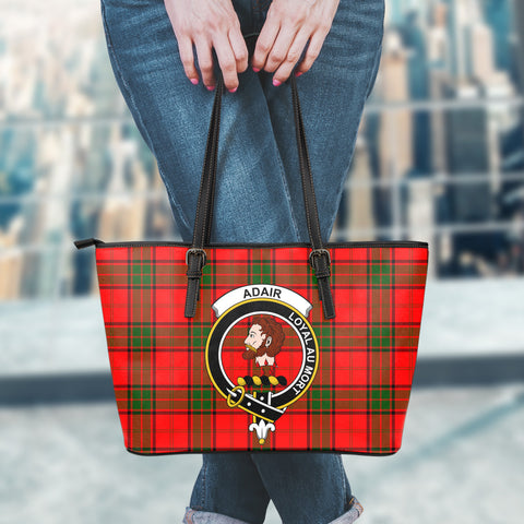 Adair Tartan Clan Badge Leather Tote Bag (Small) | Over 300 Clans And 500 Tartans | Special Custom Design