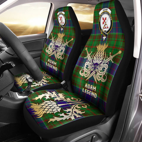 Image of Car Seat Cover Adam Clan Crest Gold Thistle Courage Symbol