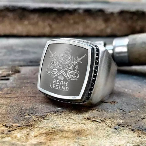 Adam Scottish Clan Name Legend Special Silver Ring