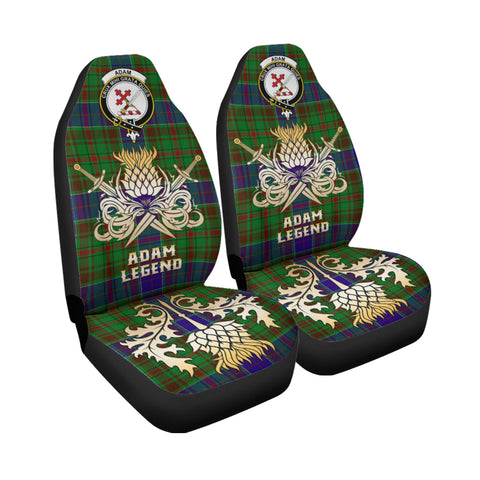 Image of Car Seat Cover Adam Clan Crest Gold Thistle Courage Symbol K9
