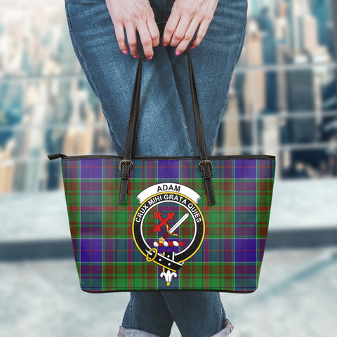 Adam Tartan Clan Badge Leather Tote Bag (Large) |  Over 300 Clans And 500 Tartans | Special Custom Design