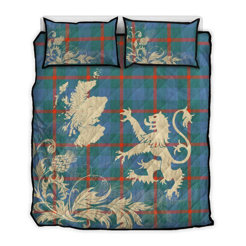 Image of Agnew Ancient Tartan Scotland Lion Thistle Map Quilt Bed Set Hj4