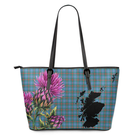 Agnew Ancient Tartan Leather Tote Bag Thistle Scotland Maps A91