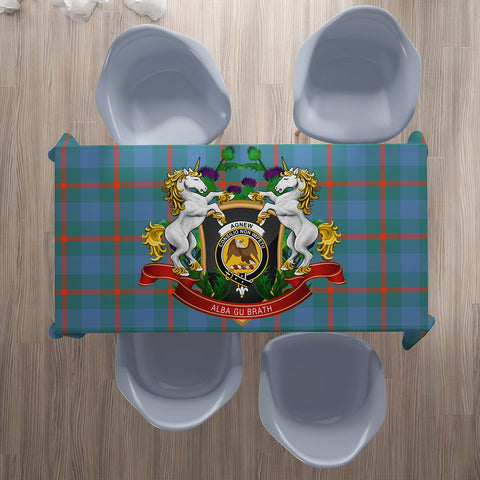 Image of Agnew Ancient Crest Tartan Tablecloth Unicorn Thistle | Home Decor