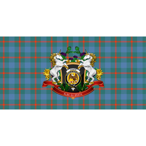 Image of Agnew Ancient Crest Tartan Tablecloth Unicorn Thistle A30