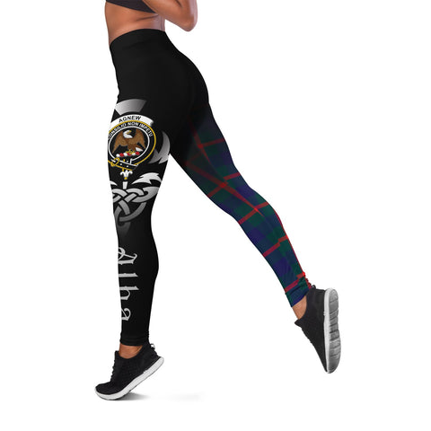 Agnew Modern Crest Tartan Alba Celtic Leggings | Over 500 Tartans | Special Custom Design