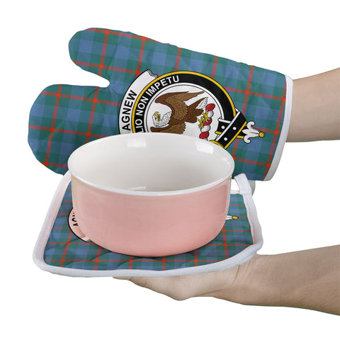 Image of Agnew Ancient Clan Crest Tartan Scotland Oven Mitt And Pot-Holder (Set Of Two)