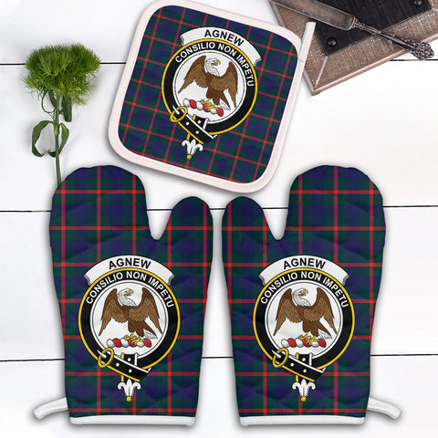 Image of Agnew Modern Clan Crest Tartan Scotland Oven Mitt And Pot-Holder (Set Of Two)