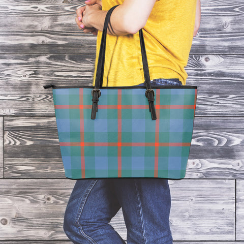 Agnew Ancient Tartan Leather Tote Bag (Large) | Over 500 Tartans | Special Custom Design