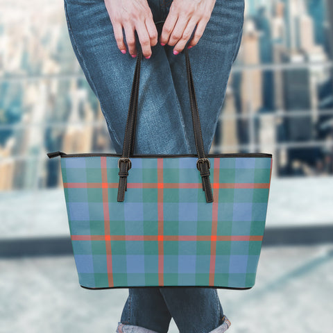 Agnew Ancient Tartan Leather Tote Bag (Small) | Over 500 Tartans | Special Custom Design