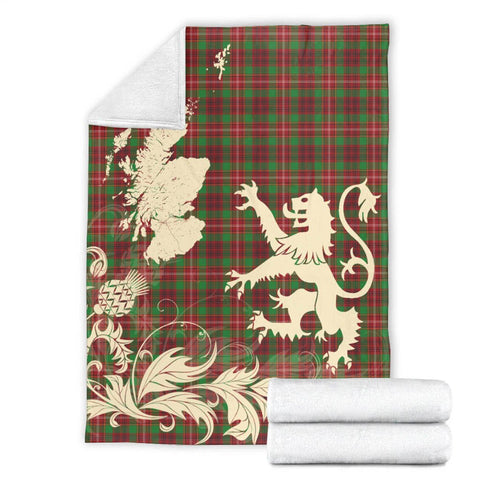 Ainslie Tartan Scotland Lion Thistle Map Premium Blanket