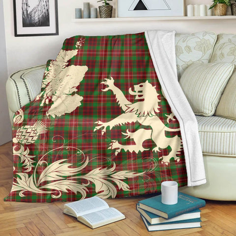 Ainslie Tartan Scotland Lion Thistle Map Premium Blanket Hj4