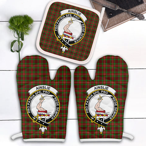 Ainslie Clan Crest Tartan Scotland Oven Mitt And Pot-Holder (Set Of Two)