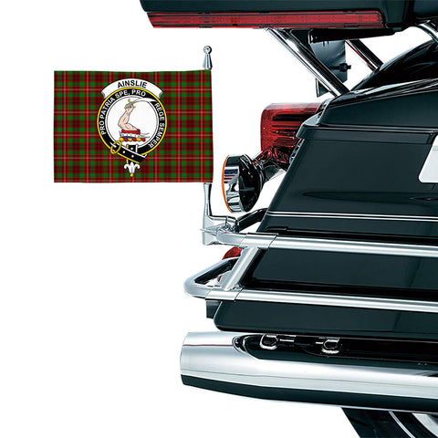 Image of Ainslie Clan Crest Tartan Motorcycle Flag