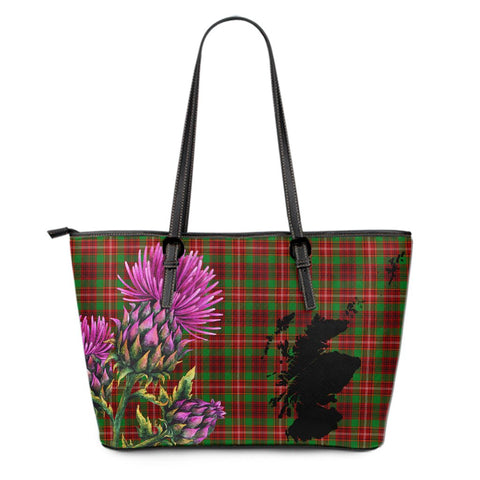 Ainslie Tartan Leather Tote Bag Thistle Scotland Maps A91