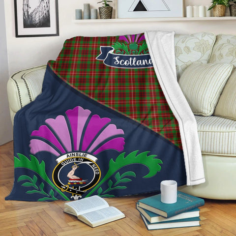 Ainslie Crest Tartan Blanket Scotland Thistle | Tartan Home Decor | Scottish Clan