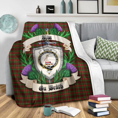 Ainslie Crest Tartan Blanket Thistle  | Tartan Home Decor | Scottish Clan