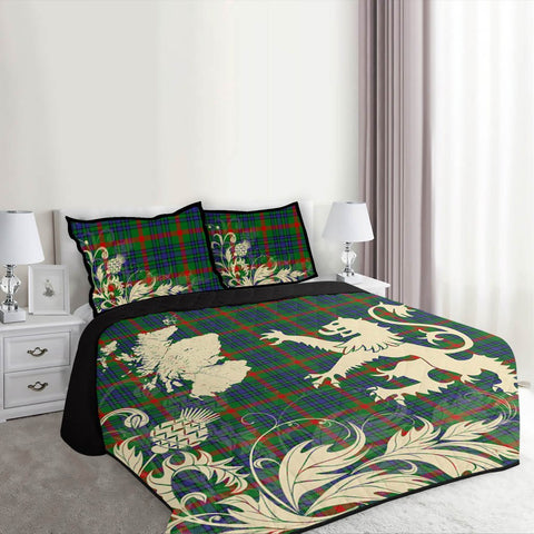 Image of Aiton Tartan Scotland Lion Thistle Map Quilt Bed Set Hj4