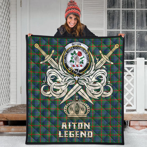 Aiton Clan Crest Tartan Scotland Clan Legend Gold Royal Premium Quilt