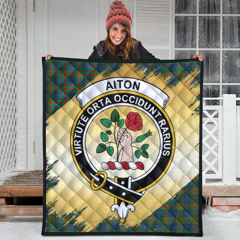 Image of Aiton Clan Crest Tartan Scotland Gold Royal Premium Quilt
