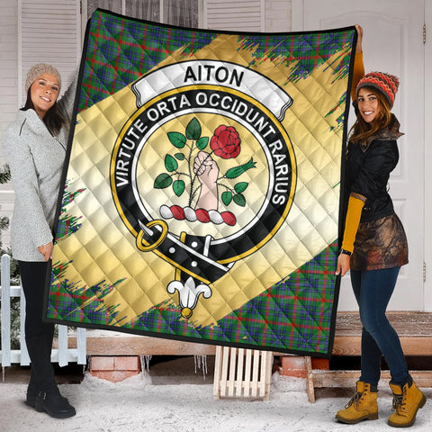Image of Aiton Clan Crest Tartan Scotland Gold Royal Premium Quilt K9